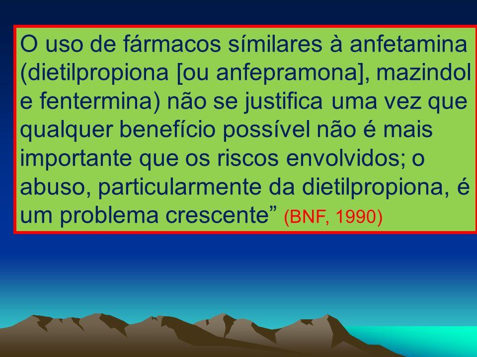 O uso de fármacos símilares à anfetamina (dietilpropiona [ou anfepramona], mazindol e fentermina) não se justifica uma vez que qualquer benefício possível não é mais importante que os riscos envolvidos; o abuso, particularmente da dietilpropiona, é um problema crescente (BNF, 1990)
